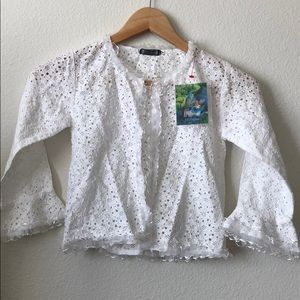 Beautiful lace white cover cardigan size 8-10 girl